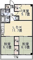 ファインクロス参番館[2階]の間取り