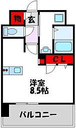 西鉄天神大牟田線 高宮駅 徒歩21分の賃貸マンション 9階1Kの間取り