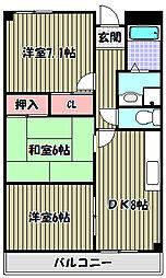 大阪府富田林市加太2丁目の賃貸マンションの間取り