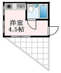 初芝アパートメント 3階ワンルームの間取り
