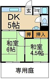 大阪府枚方市高田1丁目の賃貸アパートの間取り