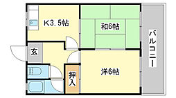 吉川ハイツ[1-B号室]の間取り