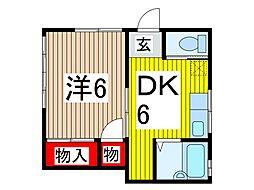 サンハイツ富田[101号室]の間取り