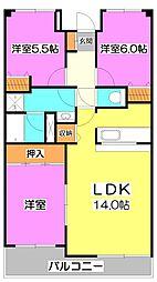 埼玉県ふじみ野市市沢2丁目の賃貸マンションの間取り