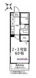 ハーミットクラブハウス西谷II(仮) 3階1Kの間取り