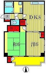 ドミシル定菊[3階]の間取り