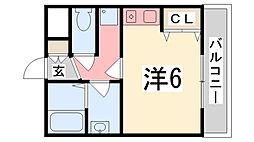 兵庫県姫路市飾磨区英賀保駅前町の賃貸アパートの間取り