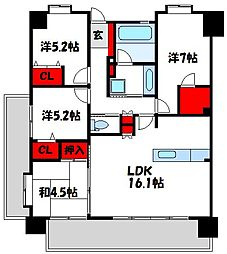モントーレ新宮セントラルステーション 8階4LDKの間取り