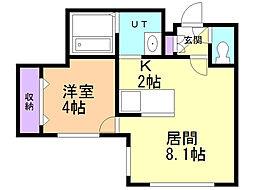 フェリーチェ新札幌 4階1LDKの間取り
