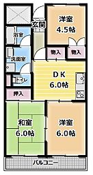 大阪府門真市上野口町の賃貸マンションの間取り