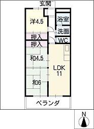 山田ハイツ[3階]の間取り