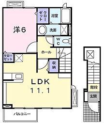 山口県下関市新椋野3丁目の賃貸アパートの間取り
