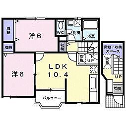 岡山県岡山市中区桑野の賃貸アパートの間取り