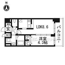 京都市営烏丸線 九条駅 徒歩5分の賃貸マンション 6階1DKの間取り