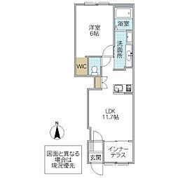 (仮)阿見町よしわら1丁目新築アパート 1階1LDKの間取り
