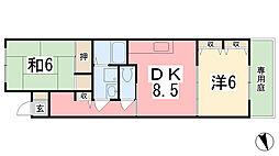 兵庫県姫路市飾磨区栄町の賃貸アパートの間取り