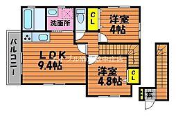 岡山県倉敷市児島下の町10丁目の賃貸アパートの間取り