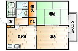 ハイツアリッサム B棟[1階]の間取り