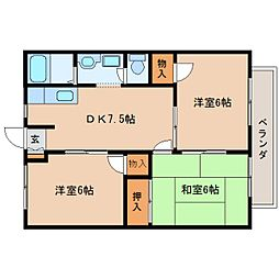 奈良県香芝市尼寺2丁目の賃貸アパートの間取り
