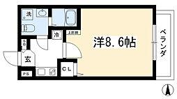(仮称)西院六反田町共同住宅II 3階1Kの間取り