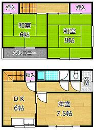 [一戸建] 大阪府枚方市茄子作北町 の賃貸【/】の間取り