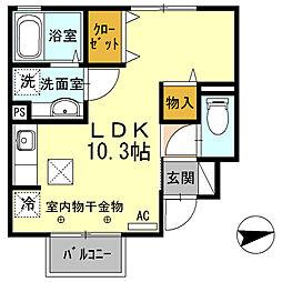 兵庫県姫路市網干区坂上の賃貸アパートの間取り