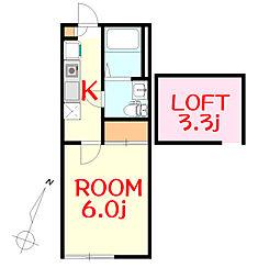JR京浜東北・根岸線 山手駅 徒歩9分の賃貸アパート 1階1Kの間取り