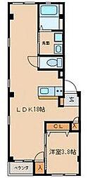 名古屋市営名城線 東別院駅 徒歩6分の賃貸マンション 1階1LDKの間取り