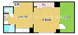 Osaka Metro谷町線 千林大宮駅 徒歩13分の賃貸マンション 1階1LDKの間取り