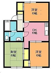 埼玉県北本市東間6丁目の賃貸アパートの間取り