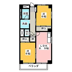 愛知県名古屋市守山区苗代1丁目の賃貸マンションの間取り