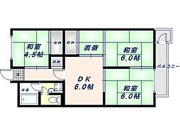 八戸ノ里グランドマンションA棟[4階]の間取り
