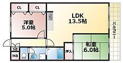 大阪府大阪市生野区巽南3丁目の賃貸マンションの間取り