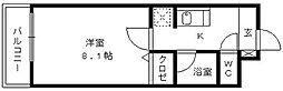 福岡県久留米市花畑2丁目の賃貸マンションの間取り