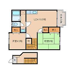 奈良県五條市五條の賃貸アパートの間取り