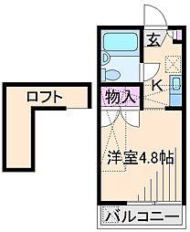神奈川県横浜市港北区大曽根2丁目の賃貸アパートの間取り