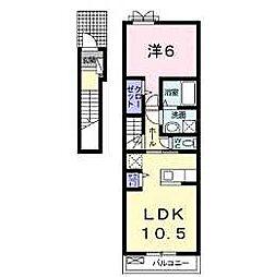 カーサ・フェリーチェTK2 2階1LDKの間取り