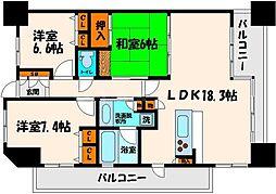 グランアッシュ野江[9階]の間取り