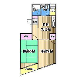 東京都青梅市長淵3丁目の賃貸マンションの間取り
