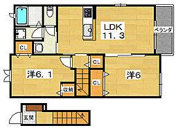 大阪府枚方市野村元町の賃貸アパートの間取り