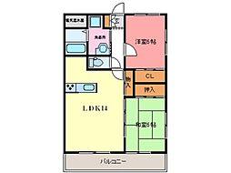 熊本市電A系統 健軍町駅 3.6kmの賃貸マンション 1階2LDKの間取り