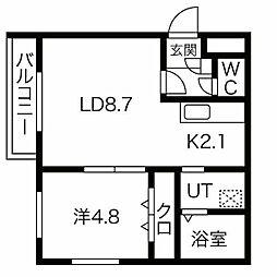 仮)南14西6MS 4階1LDKの間取り