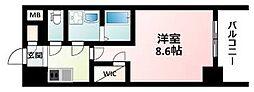 ワールドアイ江坂アルバ 5階1Kの間取り