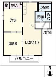 フィールドパレス B棟[1階]の間取り
