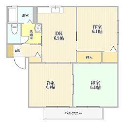 サンコートヴィレッジA棟[1階]の間取り