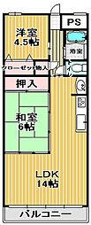 パレス竹ヶ城[6B号室]の間取り