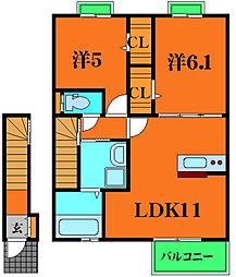belistri 2階2LDKの間取り