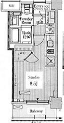 東京都新宿区高田馬場2丁目の賃貸マンションの間取り