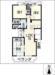 GREEN HILL若田[3階]の間取り
