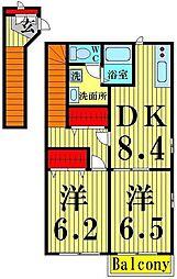 東京都足立区谷在家2丁目の賃貸マンションの間取り